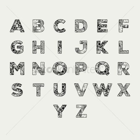 Learn : Alphabet set in decorative style