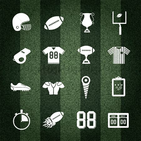 Trophy : American football collection on striped background