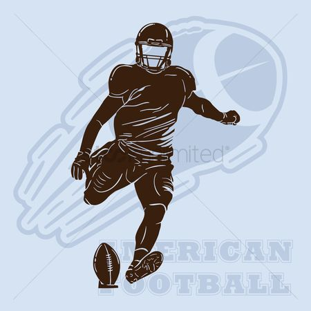 Footballs : American football player silhouette