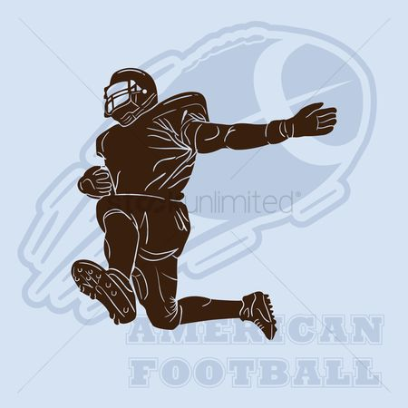 American football : American football player silhouette