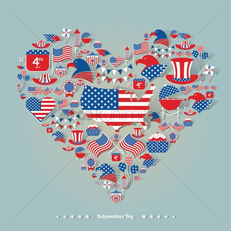 Heart shape : American independence day icons
