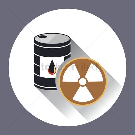 Oil drum : An oil drum with a radioactive sign
