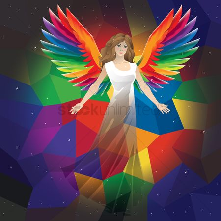 Spirit : Angel on a faceted background