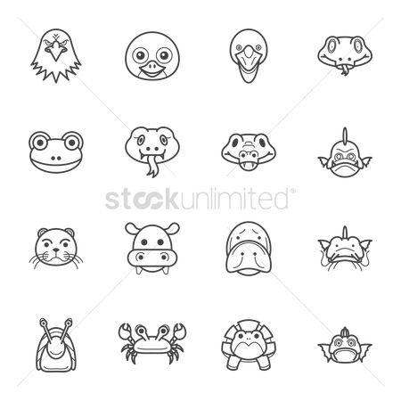 Marine life : Animal head icons pack