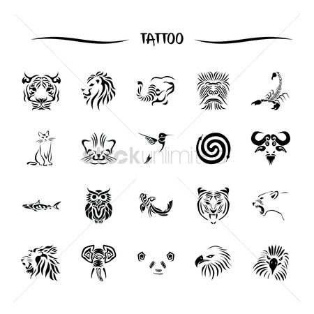 Hawks : Animal tattoo set