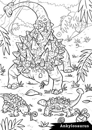 Colorings : Ankylosaurus with hatchlings