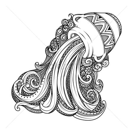Horoscopes : Aquarius zodiac intricate design