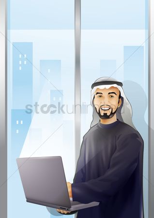 East : Arabic man with a laptop