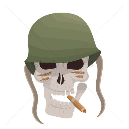Soldier : Army skull with cigar