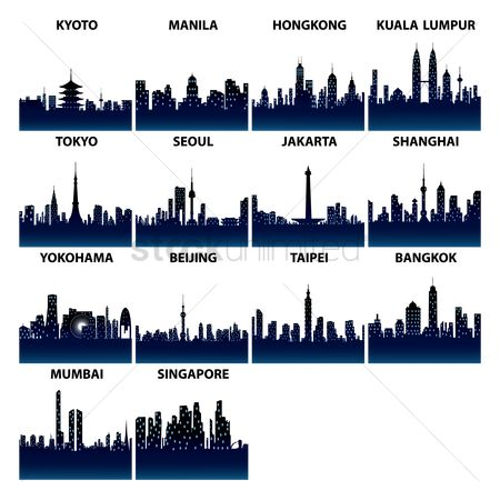Buildings : Asian skyline silhouettes