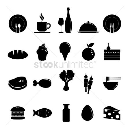 Burgers : Assorted food and drink icons