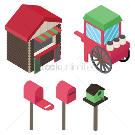 Food cart : Assorted isometric icons