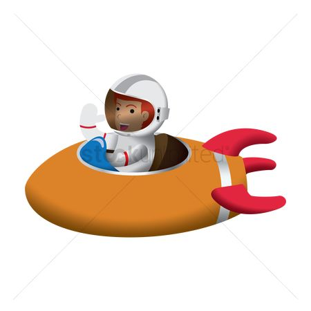 Spaceships : Astronaut riding on spaceship