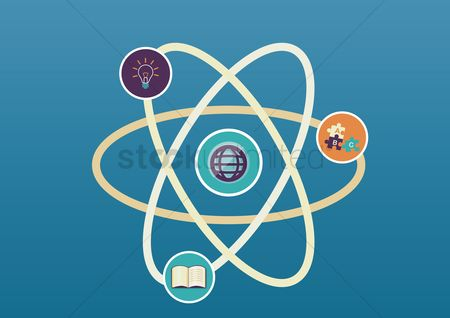 Physic : Atom structure with education concept