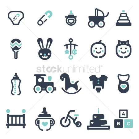 Clothings : Baby icon set