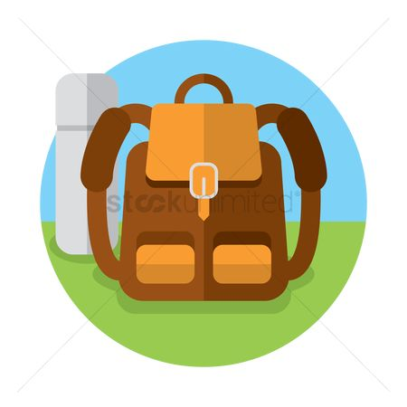 Grass : Backpack with a flask