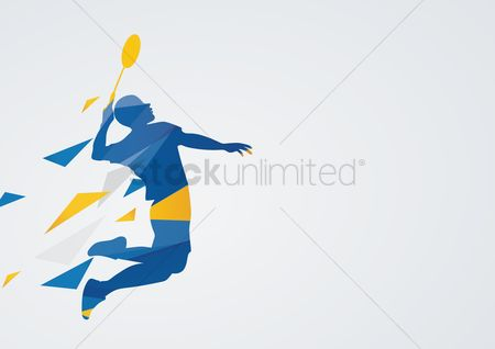Athletes : Badminton in action