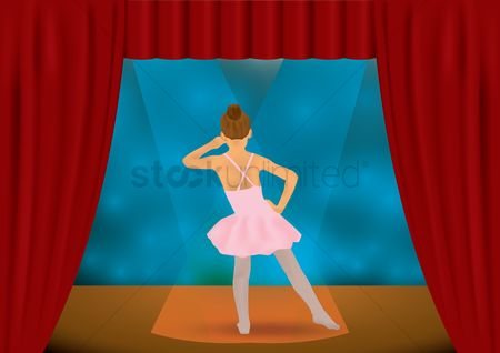 Posing : Ballerina girl dancing on stage