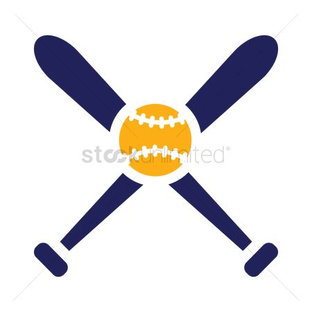 Wooden sign : Baseball bat and ball icon