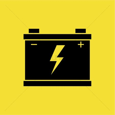 Charging icon : Battery with voltage sign
