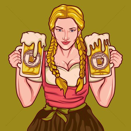 Beer : Bavarian girl with beer mugs