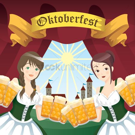 Waitresses : Bavarian girls with beer mugs