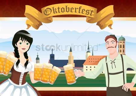 Waitresses : Bavarian man and girl with beer mugs