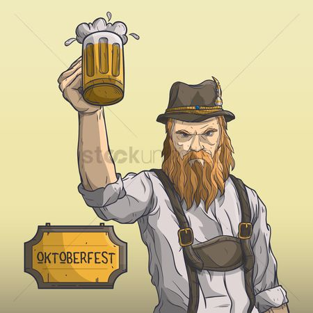 Beer mug : Bavarian man holding beer mug