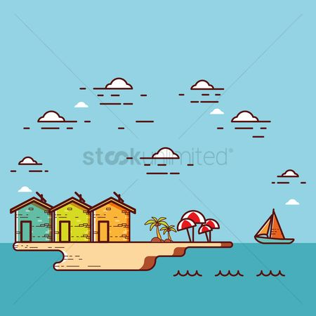 Umbrella : Beach and houses