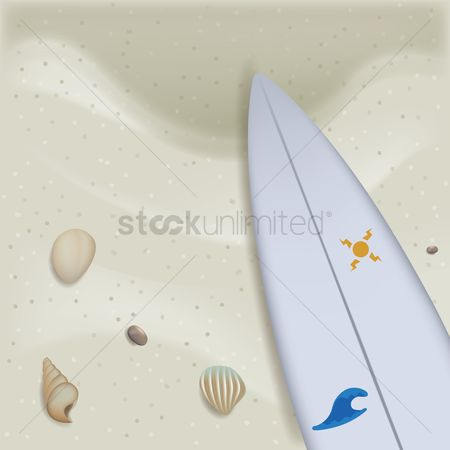 Clears : Beach sand with surfboard