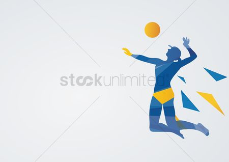 Athletes : Beach volleyball in action