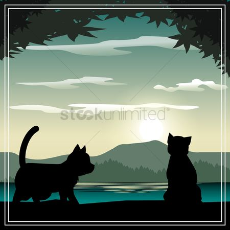 Sceneries : Beautiful scenery with animals silhouette