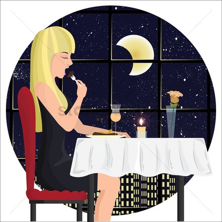 Eat : Beautiful woman dining at a restaurant