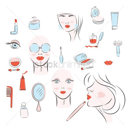 Products : Beauty and makeup icon set