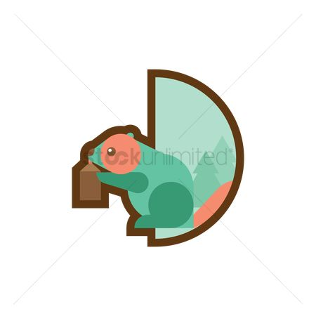 Logs : Beaver holding a log