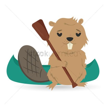 Paddle : Beaver with kayak and paddle