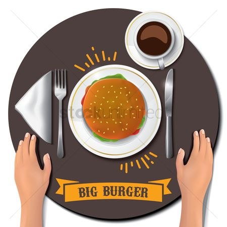 Fork : Big burger on table with hands