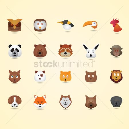 Head : Birds and animal set