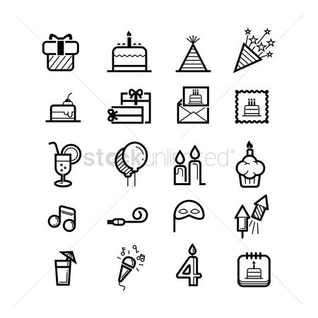 Minimalistic : Birthday party icons