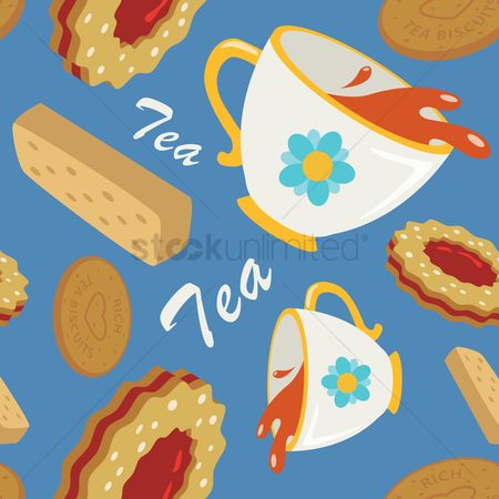 Biscuit : Biscuits and tea pattern design
