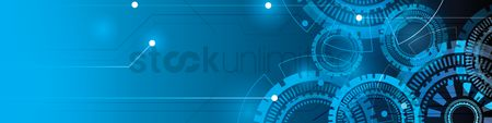 Cogwheels : Blue technological web banner design