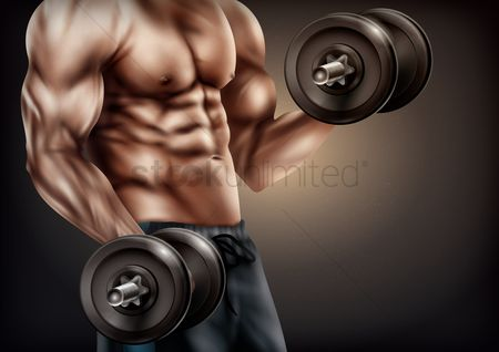 Guys : Bodybuilder with dumbbells