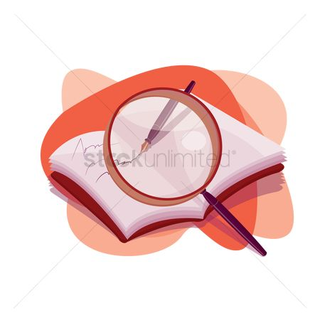 Write : Book with a magnifying glass