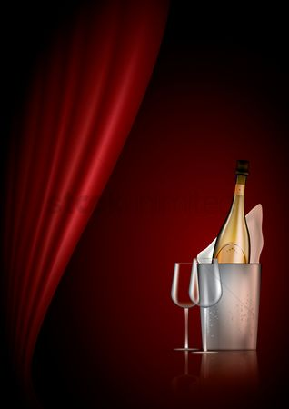 Champagnes : Bottle and glass of champagne poster design