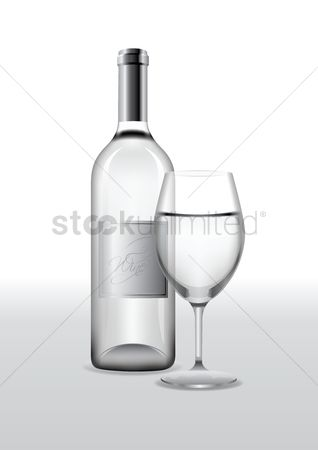 Glass bottle : Bottle of wine with glass