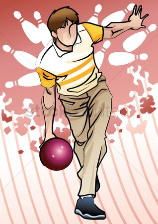 Pins : Bowling player in action