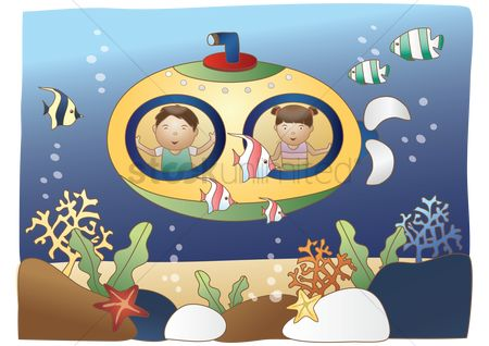 Marine life : Boy and girl inside submarine