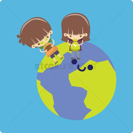 Fertilizer : Boy and girl planting tree on earth
