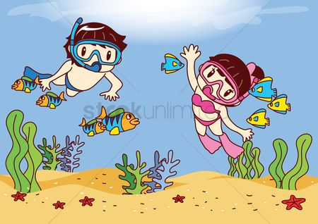 Starfishes : Boy and girl scuba diving in ocean