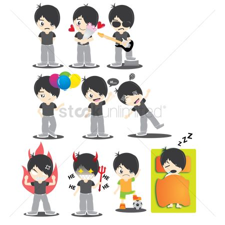 Devils : Boy character with different actions